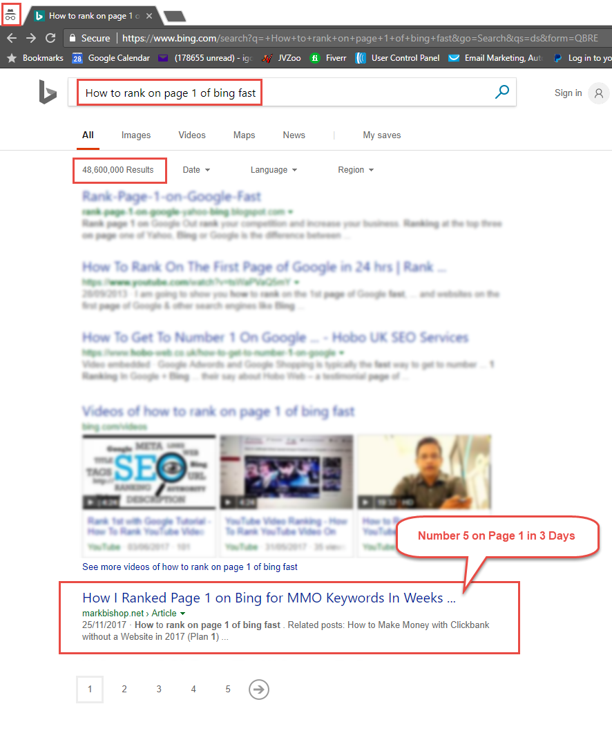 How to rank on page 1 of bing fast