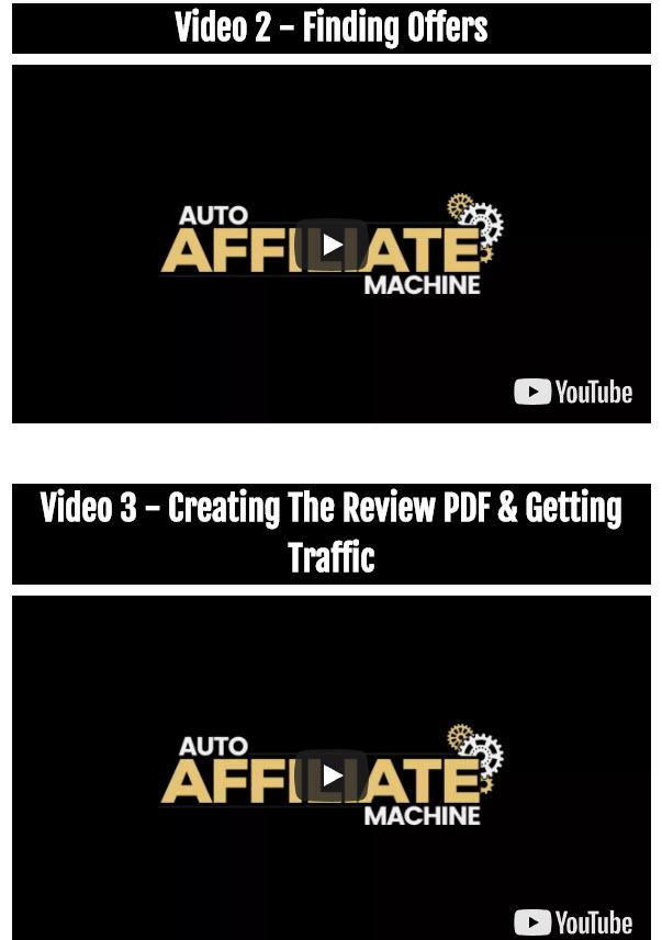 Auto Affiliate Machine Training Videos