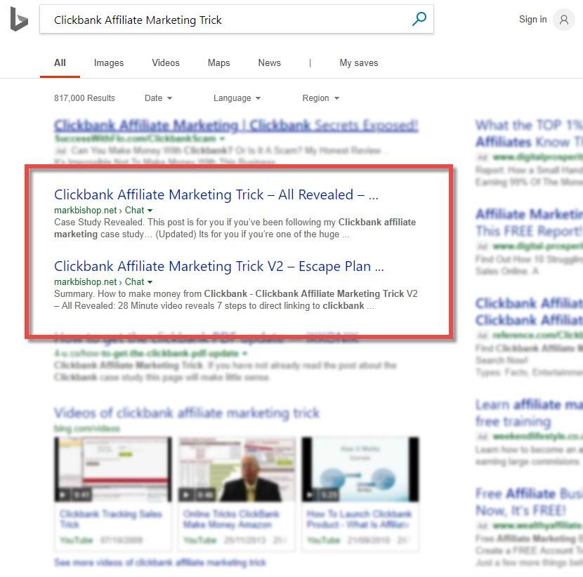 rank at the top of Bing & Yahoo