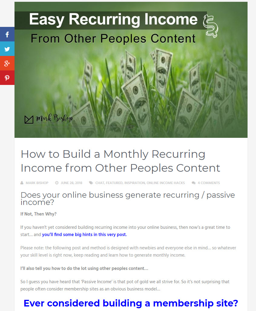 Easy recurring income blueprint
