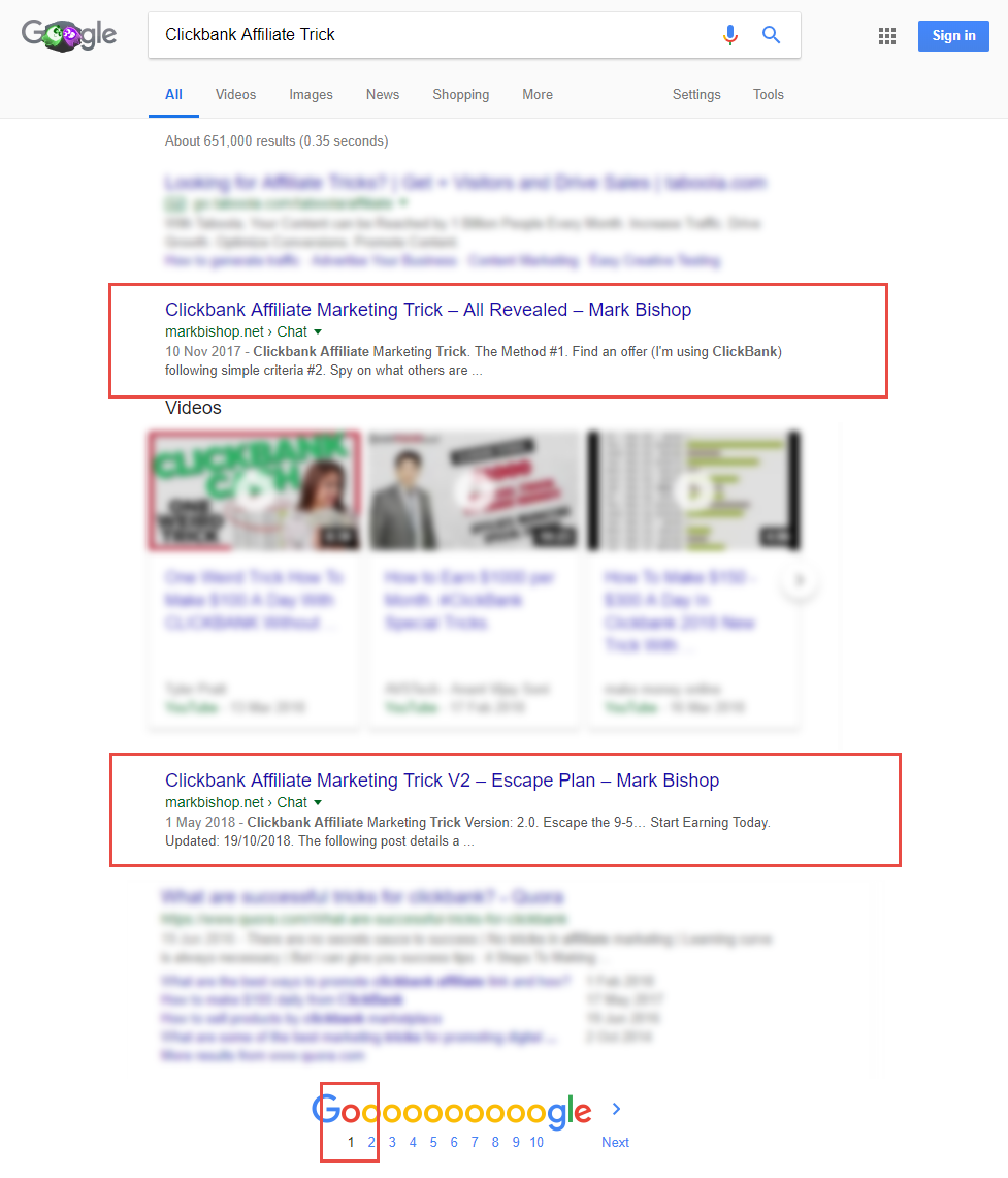 Multiple Google Page 1 Spots